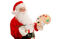Santa Claus with an artists palette and paint brush. Isolated on white.