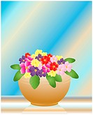 an illustration of a bowl of colored primroses on a glass table with a sunlit background