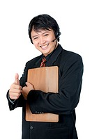Asian phone operator holding clip board give thumbs up isolated over white background