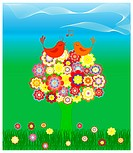vector illustration of tree in colorful flowers with the birds in love