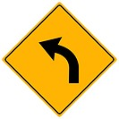 Image of a yellow sign with an arrow.