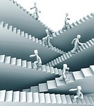 People stepping on staircase moving up direction 3d illustration