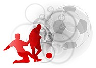 red silhouettes of soccer players