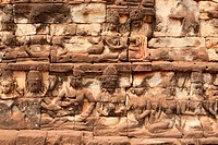 Relief Angkor, historical architecture of the Khmer in Cambodia
