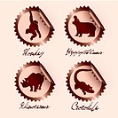 chocolate wild animals on stickers