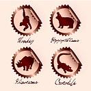 chocolate wild animals on stickers