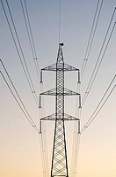 silhouette of a high voltage tower