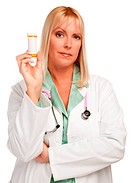 Attractive Female Doctor with Blank Prescription Bottle Isolated on a White Background.