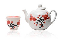 Tea_things in asian style with flowers. Isolated on white.