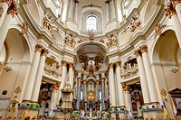 Interior of ancient church. It is constructed 1600_1700. The city of Lvov, Ukraine