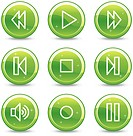 Walkman web icons, green glossy circle buttons series