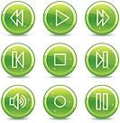 Walkman web icons, green glossy circle buttons series