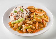 Chinese dish of meat, vegetable and sauce with rice