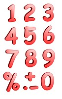 3d rendered numbers and symbols isolated on a white background