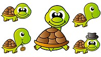 set of little happy turtles isolated over white background