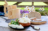Traditional cheese on organic farm with herbs and wooden cups with traditional slovak milk product zincica.
