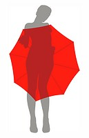 illustration of a naked girl hiding under the umbrella