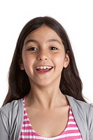 Portrait of a happy eight year old girl on white background