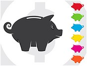 A vector piggy bank with various colors. Totally editable.