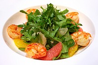 Salad with shrimps or prawn and arugula