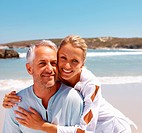 Loving couple having fun on a retirement holiday