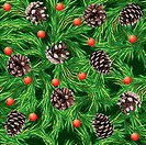 Christmas seamless pattern with pine cones