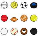 Set with cartoon balls for different sports: volleyball, water polo, soccer, hockey, cricket, football, basketball, tennis, golf, baseball, billiards ...