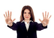 Hold on, Stop gesture showed by businesswoman hands isolated over white background