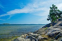 Scandinavian coastline, Baltic Sea in summer.