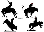 Four rodeo silhouettes. Vector illustration