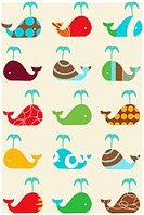 Vector whales retro seamless pattern