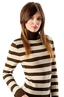 nice portrait of young and beautiful girl with brown and white sweater