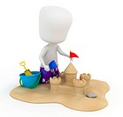 3D Illustration of a Kid Making a Sand Castle