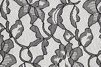 pattern of black lace fabric with floral motif against white background