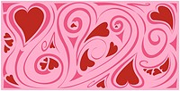 A red and pink heart design graphic.
