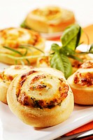 Rolls with herb and cheese filling