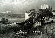 Orthodox Church of Saint Elijah and abbey, Mount Thabor, Palestine, historical illustration, 1865