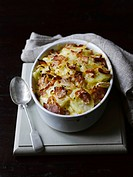 Potato gratin with cheese and bacon