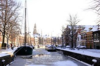 Dutch town in the winter