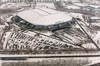 Aerial view, Veltins-Arena football stadium, also known as Schalke Arena stadium, before the roof was damaged by snow, Gelsenkirchen, Ruhr area, North...