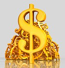 Golden dollar symbol with pile of various currency symbols on gray background