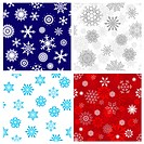 Seamless snowflakes backgrounds set for winter and christmas theme