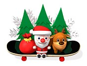 santa and rudolf on the board with trees,3d