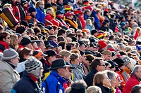 Enthusiastic spectators, Biathlon World Cup, Antholz, province of Bolzano_Bozen, Italy, Europe