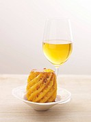 Grilled pineapple and a glass of dessert wine