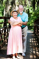 Portrait of happy senior couple on Florida vacation.
