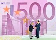 Businessmen, figurines standing on a euro banknote, symbolic image for business, tradesmen, completion of a contract