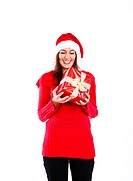 Cute Santa Girl Holding A Little Red Present Box