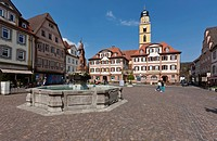 Twin houses, marketplace, Bad Mergentheim, Baden_Wuerttemberg, Germany, Europe