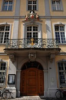 Entrance with balcony and coat of arms, Haus zum Ritter, 1756, Muensterplatz 10, Freiburg im Breisgau, Baden-Wuerttemberg, Germany, Europe